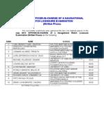 Top 10 July 2012 Marine Deck Licensure Examination (O.I.C. – N.W.)
