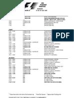 2012 Formula 1 Hungarian Grand Prix Timetable
