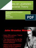 Lec 2.1 Behaviourist Theory