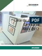 Sylvania Tarifa LAMPARAS Abril 2012.