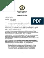 Comunicado de Prensa - Secretario de Estado Considera que no haber Resuelto el Status ha sido obstáculo para la Competitividad Global de Puerto Rico
