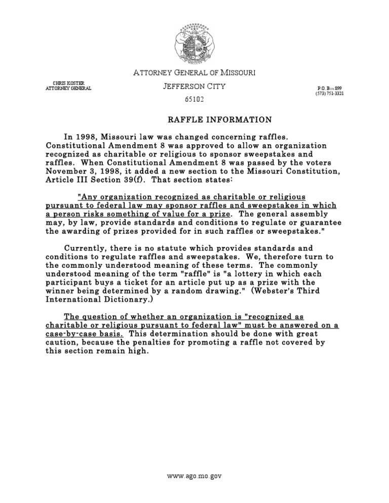 Missouri Attorney General info on Raffles