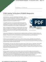PCM's Sydney Young Earns PCAM(R) Designation