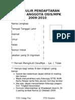 Formulir Pendaftaran Calon Anggota Osis
