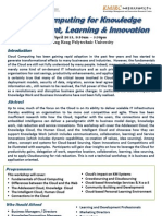 Workshop on Cloud Computing for Knowledge Management and Innovation