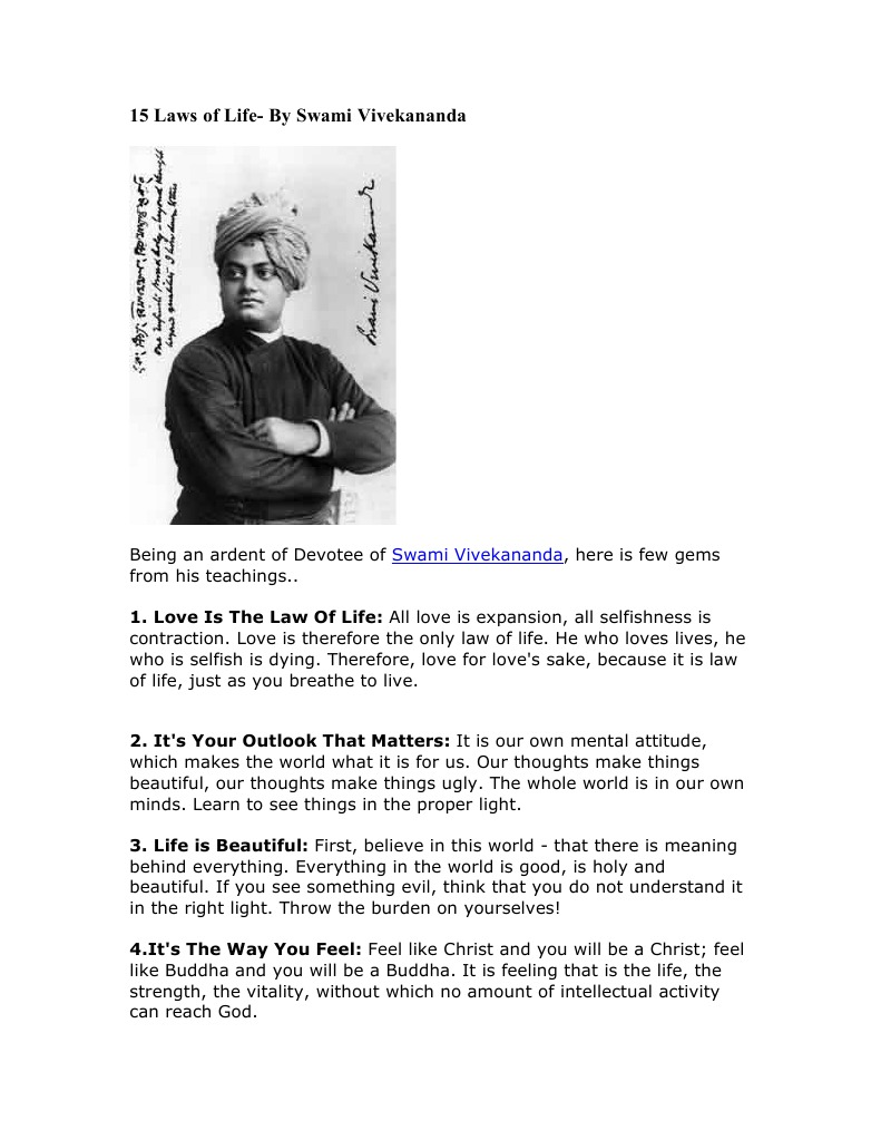 15 Laws of Life   Swami Vivekananda   Religious Belief And