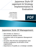 Japanese Style of Management & Strategy Implementation & Evaluation