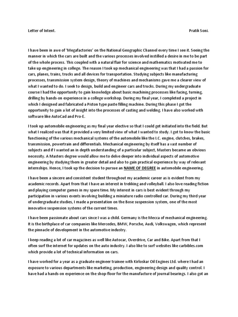 Statement of purpose for german university Engineering – Sample National Letter of Intent