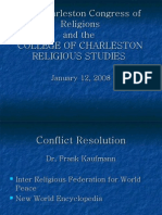 Charleston Congres of Religions - the nature of peace and why religion has the resources for peace