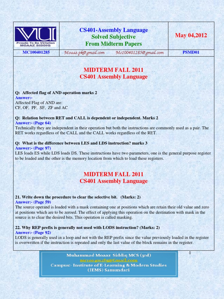 cs401 solved midterm papers