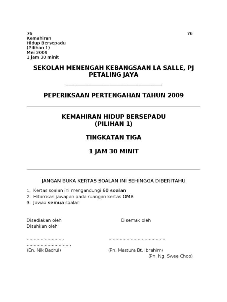 Peperiksaan Pertengahan Tahun Khb 2009