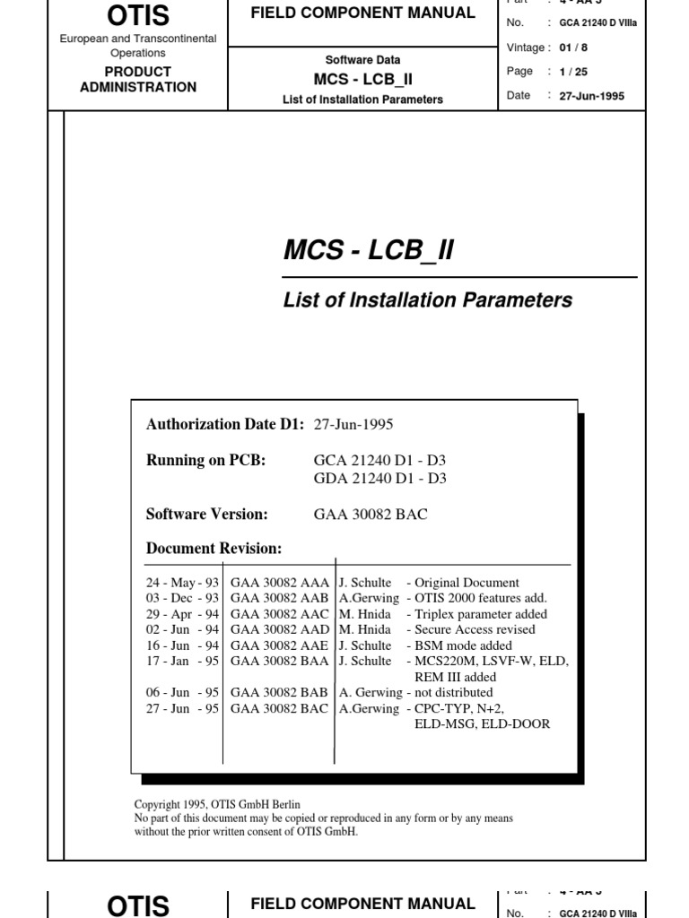 mcs lcb ii list of parameters manufactured goods technology rh es scribd com otis fault manual for service tool otis gen 2 service tool manual