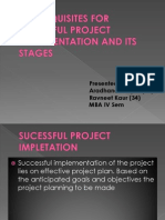 Pre-requisites for Sucessful Project Implementation and Its Stages