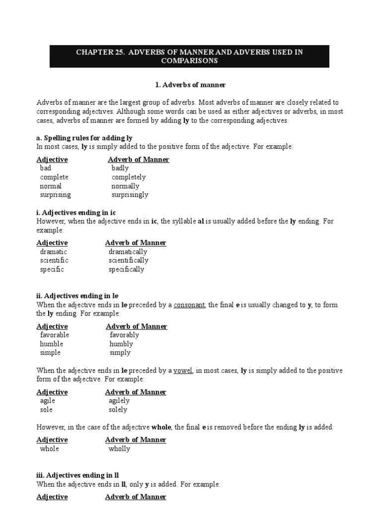 Adverbs Of Manner And Adverbs Used In Comparisons Adverb Adjective