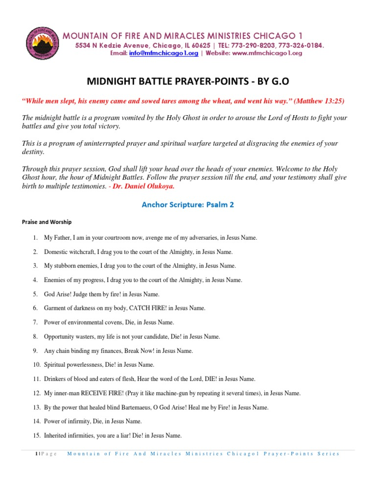 Midnight Battle Prayer-points | Miracle | Jesus