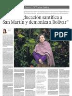 Nuestra educación santifica a San Martín y  demoniza a Bolivar