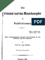 Rohling, August - Die Polemik und das Menschenopfer des Rabbinismus (1883, 81 S., Scan)