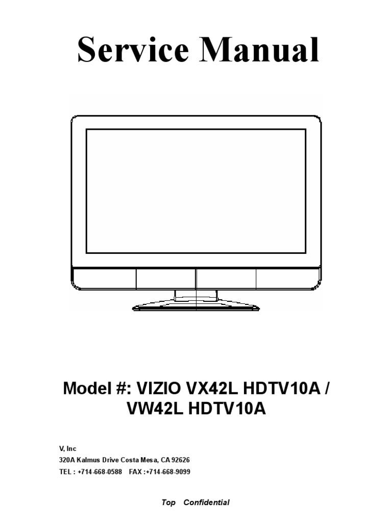 vizio tv model vx42l hdtv10a service manual television magenta rh scribd com Vizio VX42L Specs Vizio VX42L HDTV10A Schematic