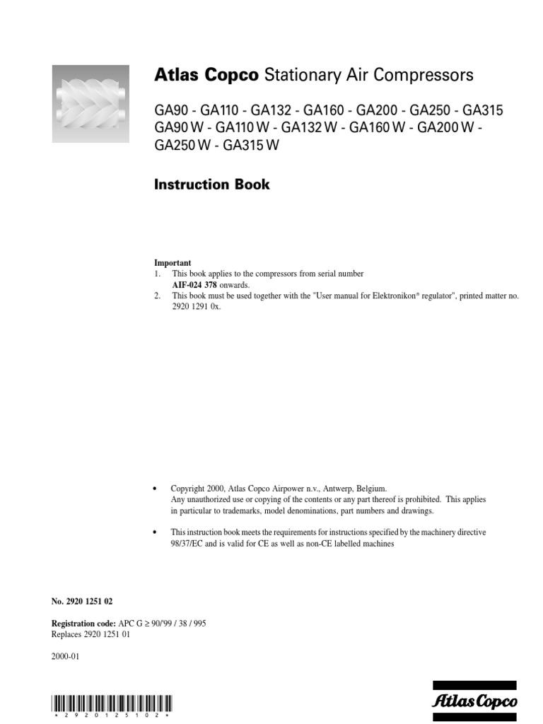 ga90 to ga315 instruction manual valve switch rh scribd com atlas copco ga 55 compressor manual atlas copco ga 55 installation manual