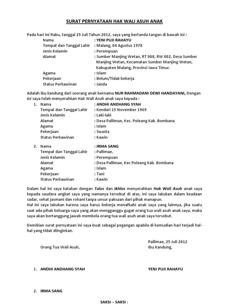 32++ Contoh surat perjanjian adopsi anak bayi terbaru yang baik