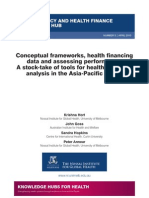 Conceptual frameworks, health financing data and assessing performance