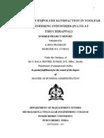 A Study on Employee Satisfaction in TOOLFAB ENGINEERING
