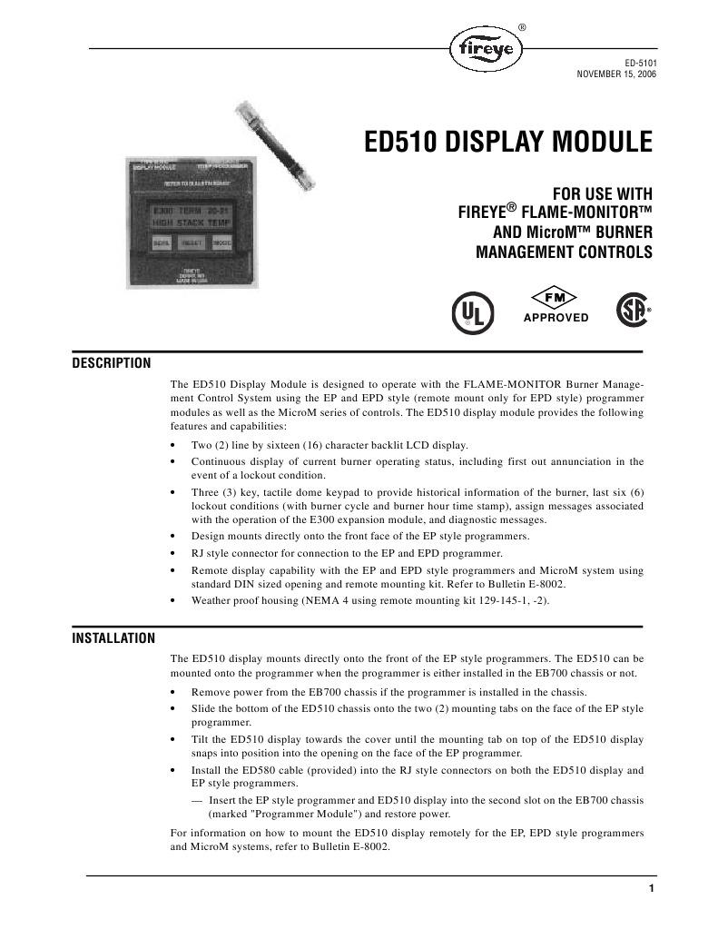 ed 510 fire eye for heater computer terminal ignition system rh es scribd com