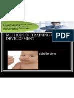 Methods of Training and Development