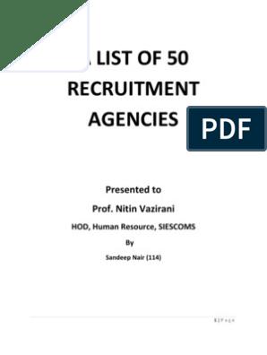 List of 50 Recruitment Consultancies | Recruitment | Consultant
