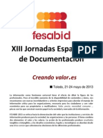 Jorrnadas Documentación Fesabid - Call For Papers