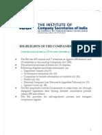 Highlights Companies Bill2011