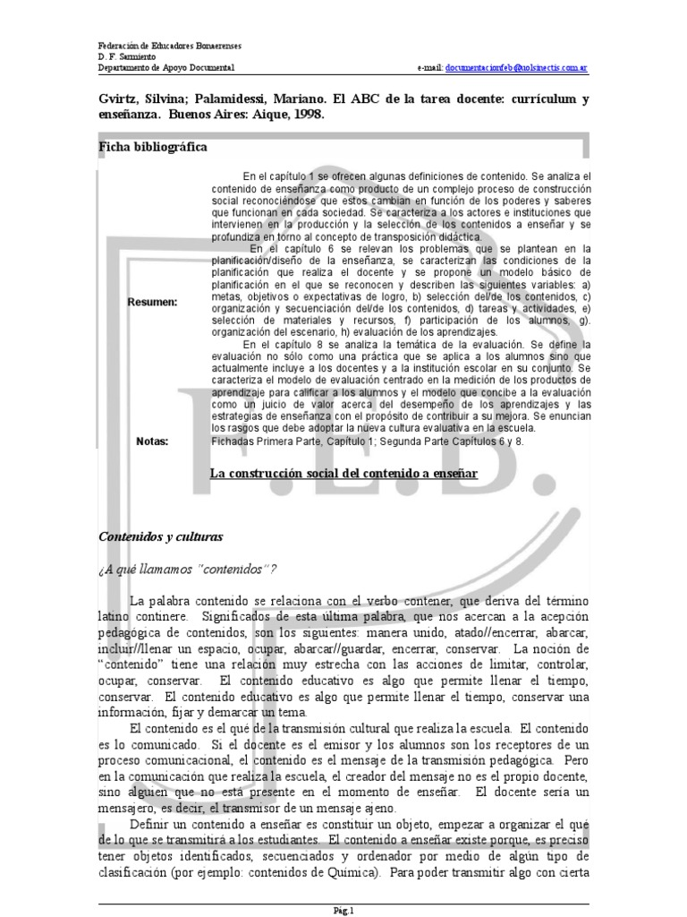 Gvirtz y Palamidessi El ABC de La Tarea Docente_FI-371-GVI