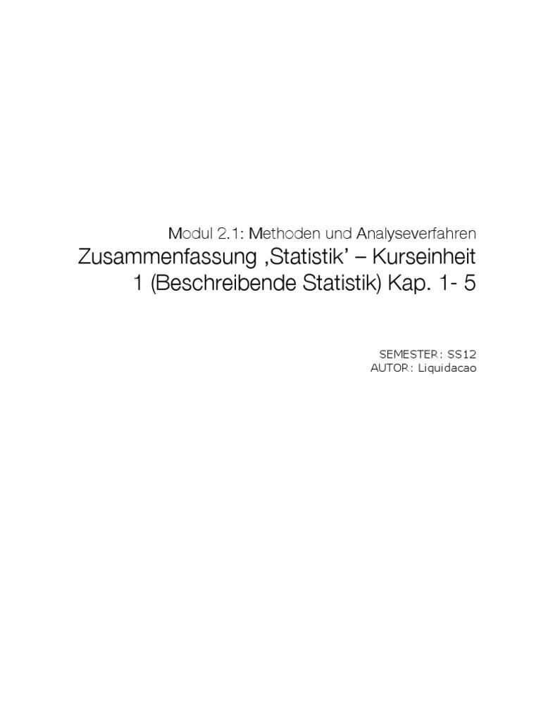 Zusammenfassung Statistik 1 Kap. 1-5