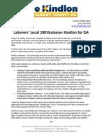 07.30.12 - Laborers' Local 190 Endorse Kindlon for DA