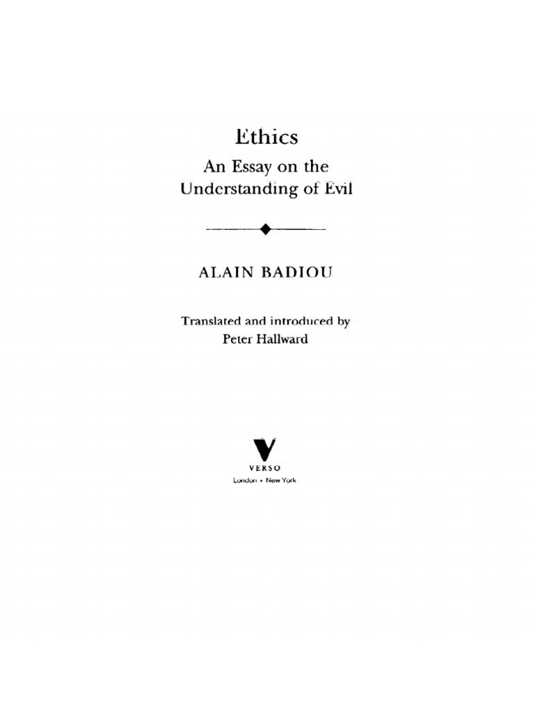 ethics an essay on the understanding of evil scribd