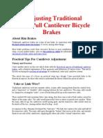 Cantilever Brake Adjustment