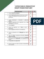 Lista de Cotejo de Power Point
