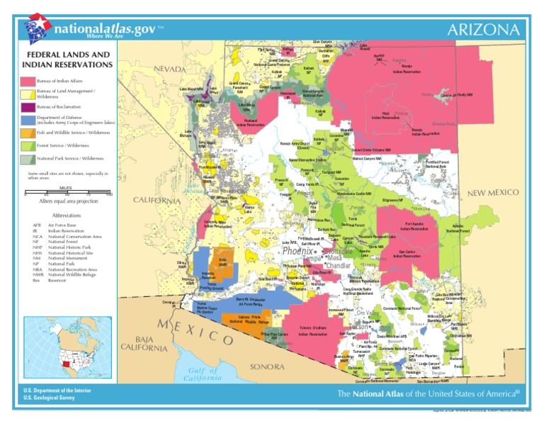 Map Of Arizona Indian Ruins.Map Of Arizona Federal Lands And Indian Reservations Western