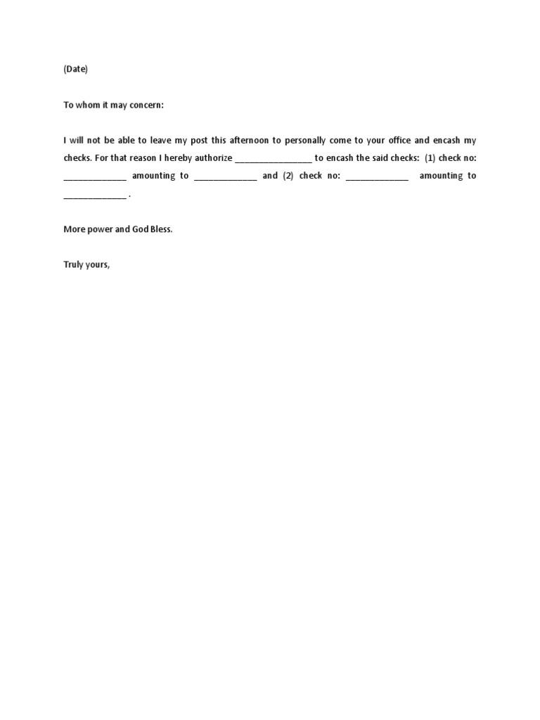 Sample Authorization Letter
