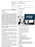 AVALIATIVA DE LÍNGUA PORTUGUESA RECUPERAÇÃO 1º A-B