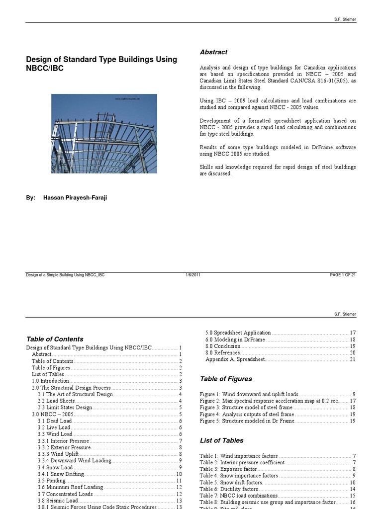 Design of a Simple Building Using NBCC_IBC | Structural Load