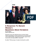 A Response to Barack Obamas Question About Scripture - August 22, 2008