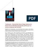 Testimonio a Hermelinda Simion lideresa de Santa Cruz de Barillas actualmente perseguida política