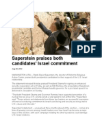Saperstein praises both candidates' Israel commitment