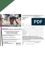 Netball Camps at Glyndwr University Summer 2012
