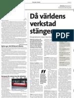 """""""Då världens verkstad stänger"""", för Kyrkans tidning"""