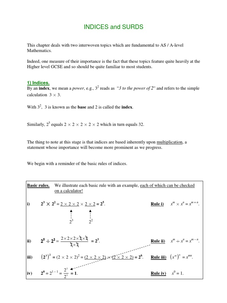 Indices Surds Without Solutions Multiplication Fraction