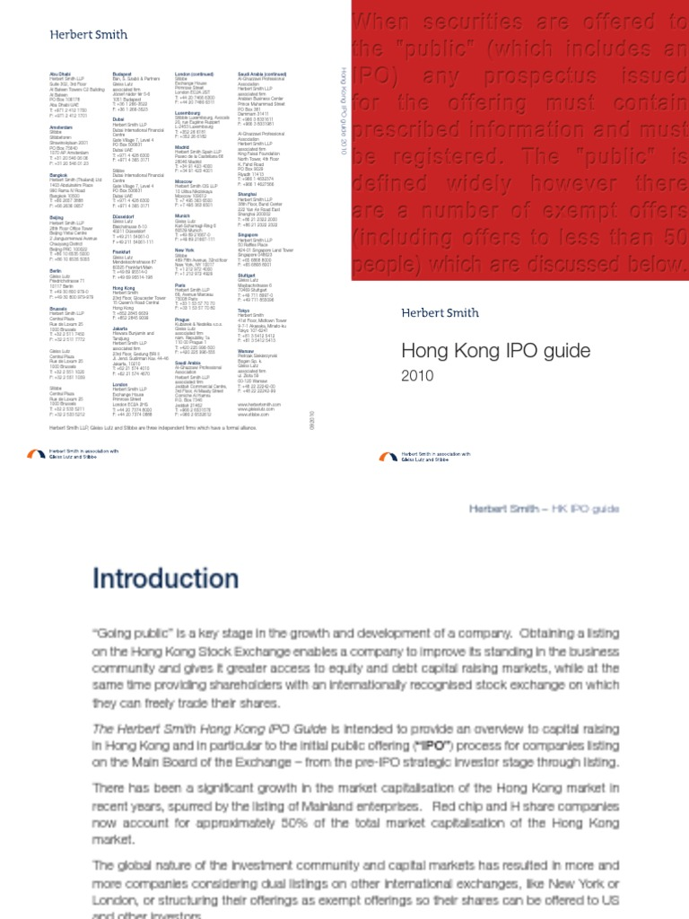 herbert smith hk ipo guide 2010 initial public offering rh scribd com  herbert smith freehills hong kong ipo guide