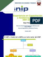 Experiencia Capacitacion y Asistencia Tecnica SNIP Peru
