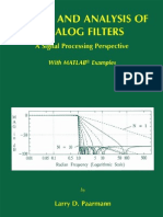 Design and Analysis of Analog Filters